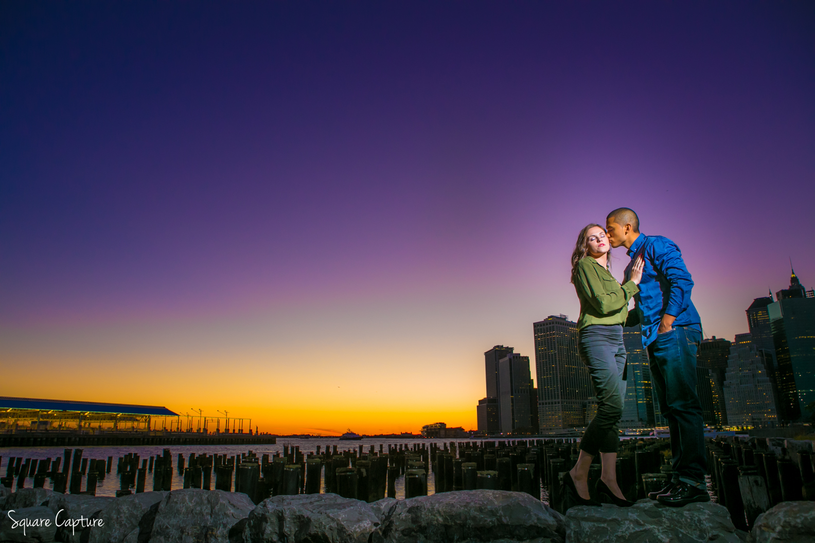 Manhattan Skyline Engagement Photography from Brooklyn